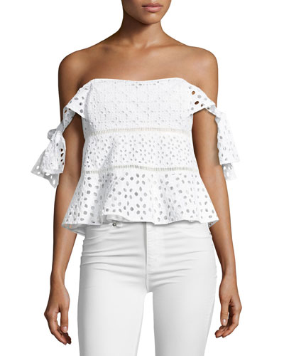 Amora Off-the-Shoulder Eyelet Top