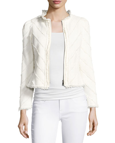 Fringe Tweed Zip-Front Jacket, White