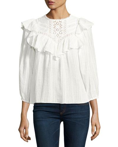 Long-Sleeve Crochet Gauze Top, White
