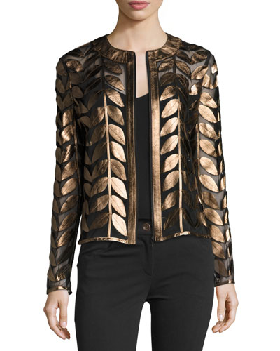 Metallic Leather Leaf & Mesh Combo Jacket