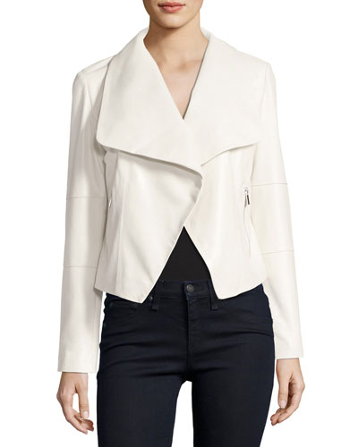 Draped Leather Moto Jacket, Ecru