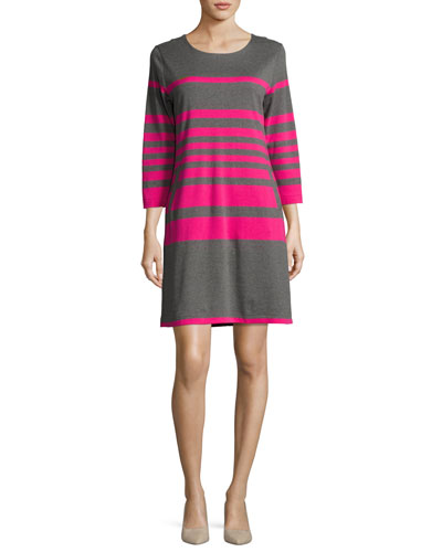 Striped Cotton Two-Pocket Shift Dress, Gray/Pink, Petite