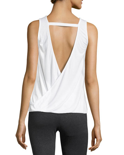 Drapey V-Back Tank Top, White