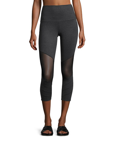 Moto Capri Performance Leggings, Gray