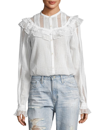 Pintuck Ruffled Cotton Shirt, White
