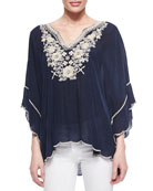 Embroidered Georgette Poncho Tunic, Petite