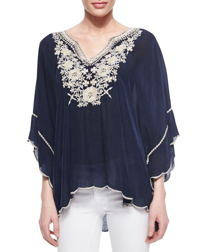 Embroidered Georgette Poncho Tunic, Plus Size