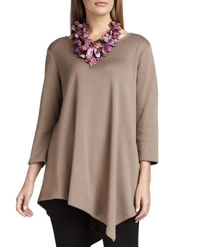 3/4-Sleeve Asymmetric Tunic, Plus Size