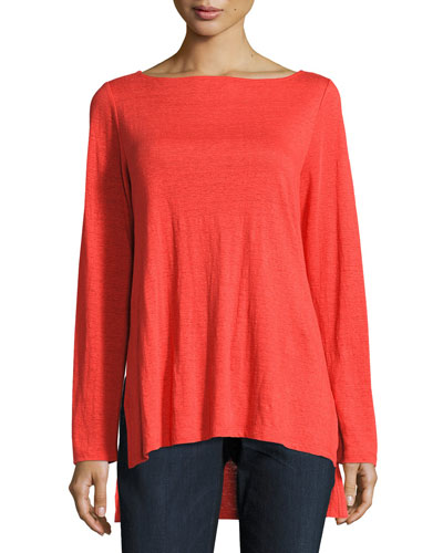 Bateau-Neck Organic Linen Jersey Top, Petite
