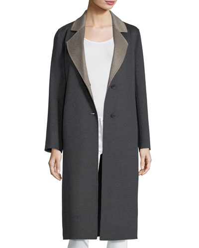 Double-Faced Long Notch-Collar Cashmere Coat