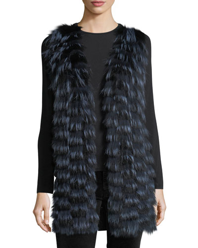 Luxury Cashmere Vest w/ Fox Fur Front & Sequin-Trim Back