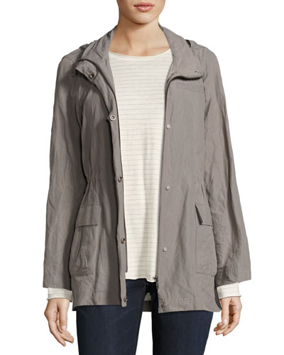 Rumpled Organic Cotton-Blend Hooded Jacket, Plus Size