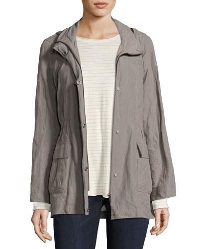 Rumpled Organic Cotton-Blend Hooded Jacket, Smoke