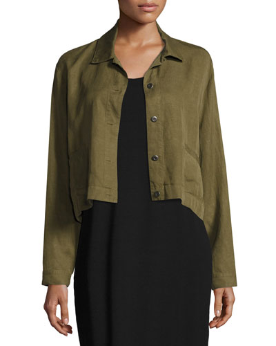 Lightweight Cropped Button-Front Jacket, Plus Size