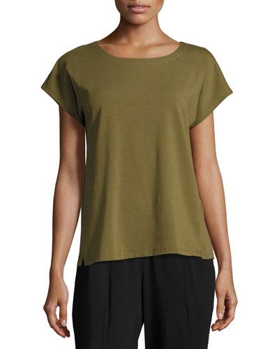 Short-Sleeve Bateau-Neck Jersey Top, Petite