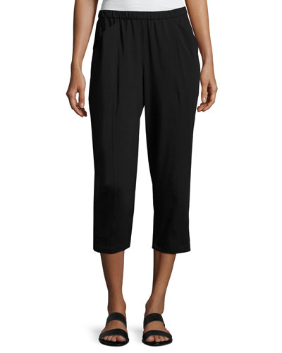 Organic Stretch Jersey Cropped Pants, Black, Petite