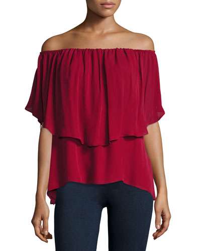 Off-the-Shoulder Silk Popover Blouse, Crimson