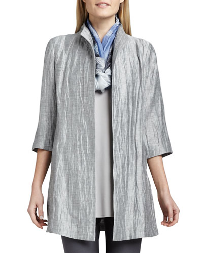 Washable Crinkle Sheen Jacket, Plus Size