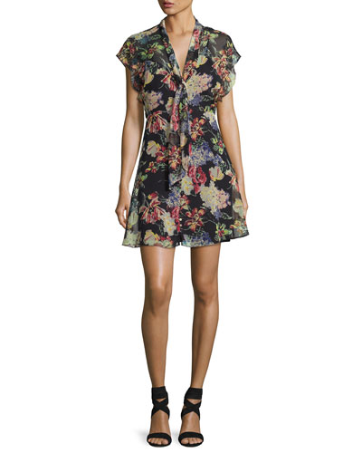 Romeo Floral-Print Chiffon Dress, Multi