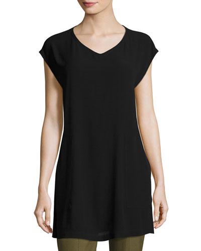 V-Neck Silk Georgette Crepe Tunic w/ Pockets, Petite