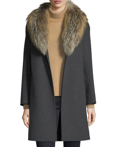 Luxury Double-Face Cashmere Coat w/ Fox Fur Collar