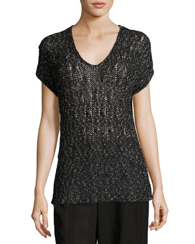 Cap-Sleeve V-Neck Semisheer Knit Top