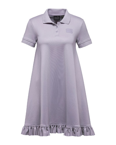 Polo Short-Sleeve Swing Mini Dress, Light Purple