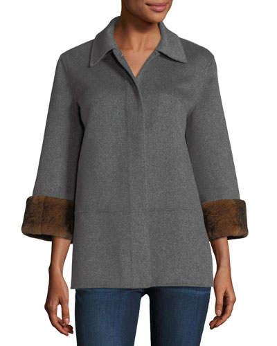 Luxury Double-Faced Cashmere Cropped Jacket w/ Rabbit Fur Cuffs