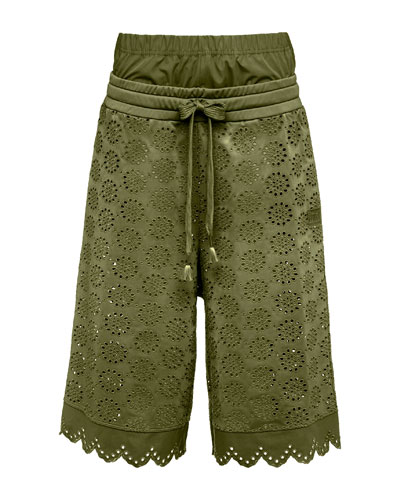 Tricot Eyelet Basketball Shorts, Green