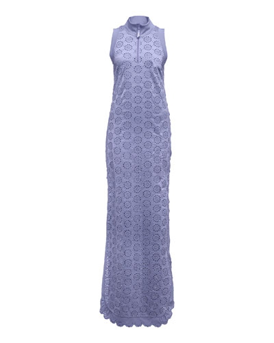 Tricot Tear-Away Sleeveless Dress, Lavender