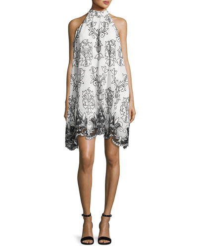 Sleeveless Voile Fleur de Lis Cocktail Dress, White/Black