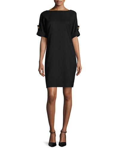 Short-Sleeve Stretch Jersey Cocktail Dress, Black