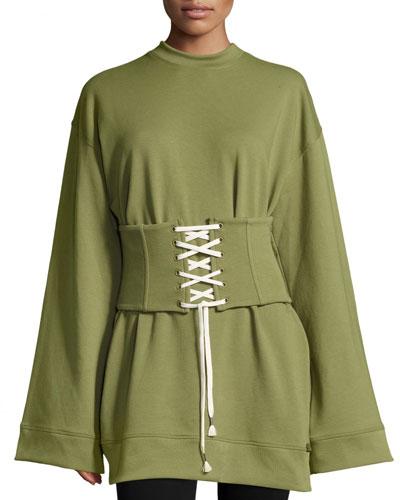 Crewneck Corset Sweatshirt, Green