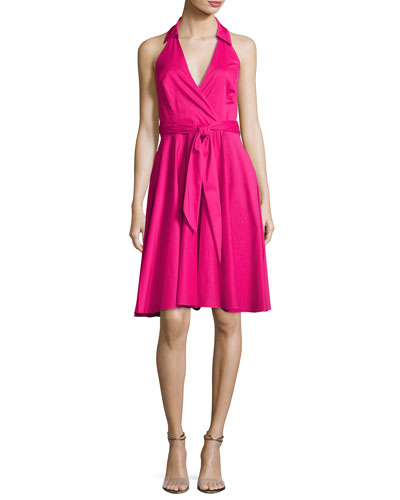 Sleeveless Tie-Waist Wrap Dress, Hot Pink
