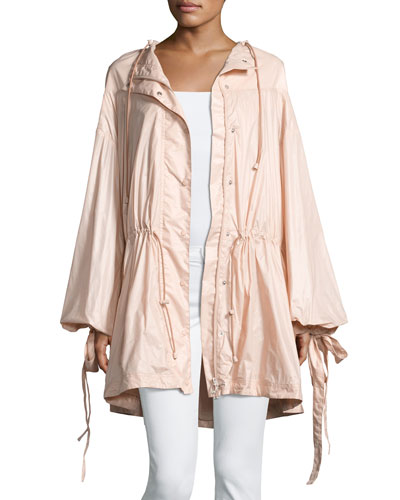 Tie-Cuff Drawstring Parachute Jacket, Pink