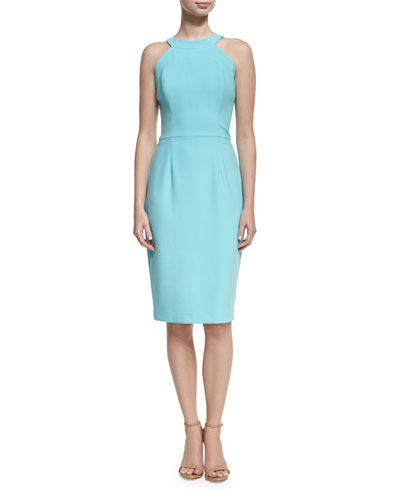 Marcelle Sleeveless Stretch Crepe Sheath Dress, Bright Blue