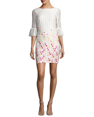 Bell-Sleeve Embroidered Striped Cocktail Dress, White/Multicolor