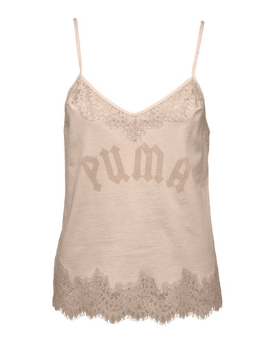 Lace-Trim Sleepwear Camisole Top, Pink