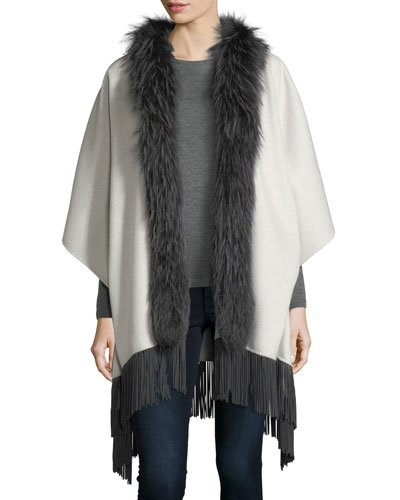 Double-Faced Cashmere Shawl w/ Fox Fur Collar & Suede Fringe Hem