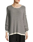 Eileen Fisher Cozy Striped Box Top, Soft White/Black