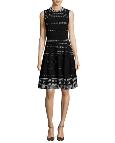 sleeveless textured fit-and-flare dress, black/cream