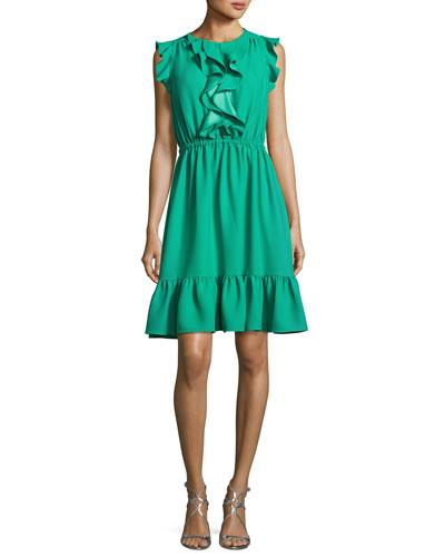 sleeveless crepe ruffle dress, beryl green