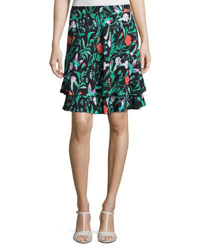jardin tiered stretch jersey skirt, black