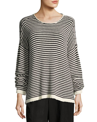 Plus Size Cozy Striped Box Top, Soft White/Black