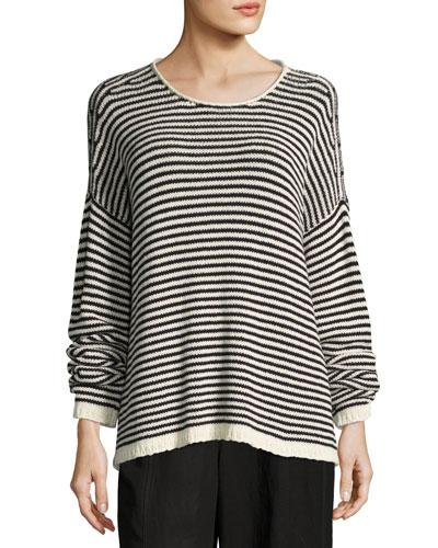 Cozy Striped Box Top, Soft White/Black, Plus Size