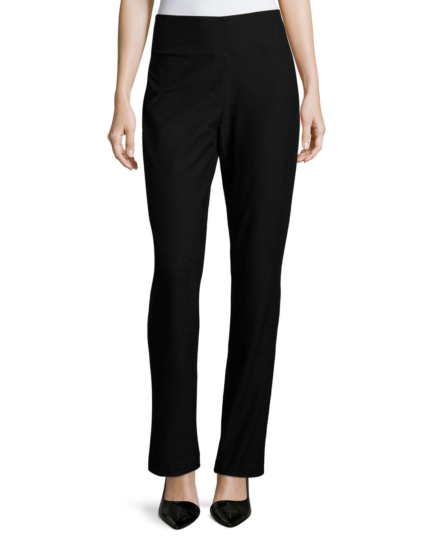 Stretch Crepe Boot-Cut Pants, Black