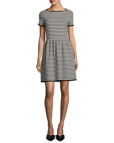 short-sleeve striped ponte dress, off white/black