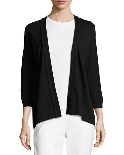 3/4-sleeve scalloped open-front cardigan, black