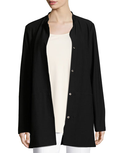Washable Crepe Long Jacket, Plus Size