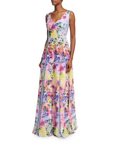 Sleeveless Floral Pleated Evening Gown, Lavender/Multicolor